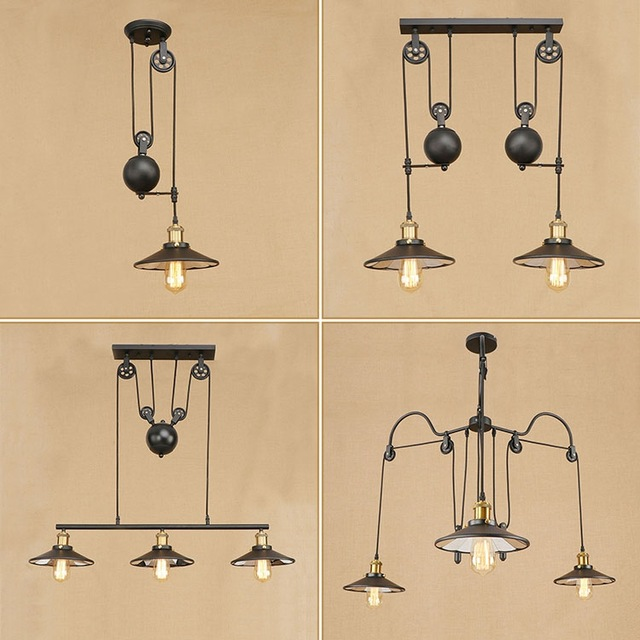 Vintage Iron Loft Industrial American Style Pulley Pendant Light Adjustable Wire Lamp Retractable Bar light Edison BulbVintage Iron Loft Industrial American Style Pulley Pendant Light Adjustable Wire Lamp Retractable Bar light Edison Bulb