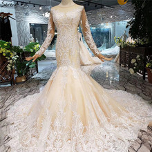 SERENE HILL Champagne Long Sleeves Mermaid Wedding Dresses