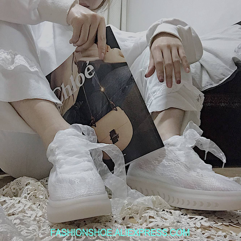 Sexy Lace Women Sneakers Height Increase Lace Up Flatform Sneakers Runway Shoes Woman Thick Platform Creepers Female Casual Flat