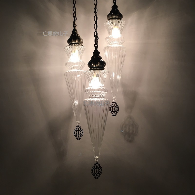 <font><b>3</b></font> heads Modern style living room bedroom minimalist restaurant pendant light Nordic clothing decoration clear glass pendant lamp image