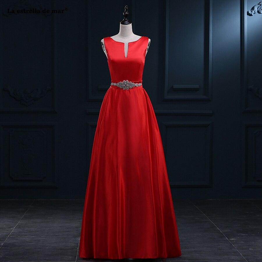 La Estrella De Mar Haute Couture Wedding Party Dress2019 New Sexy V Neck Satin Crystal Belt A Line Red Bridesmaid Dresses Plus