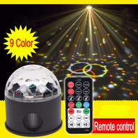 9Colors Remote control USB MP3 9LED RGB magic crystal ball ktv disco party colorful stage light Sound LED magic ball Light