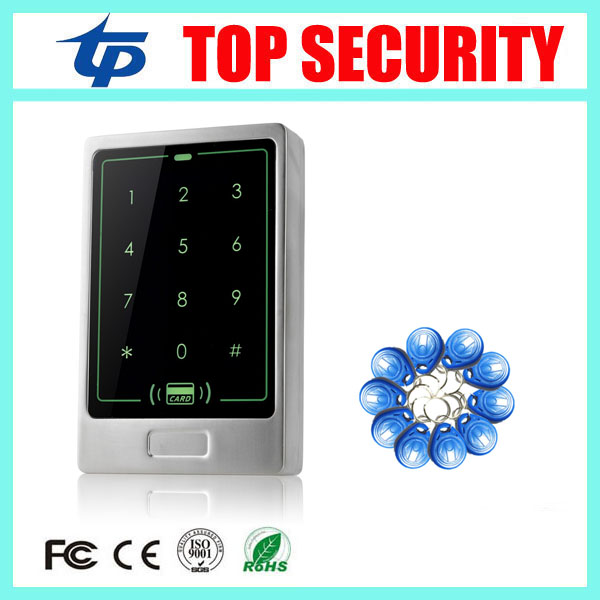 Free shipping metal cover touch waterproof keypad RFID card door access control reader 8000 users 125KHZ ID card access control free shipping waterproof metal shell 125khz rfid access control card reader with wg26 port 5pcs crystal keyfobs