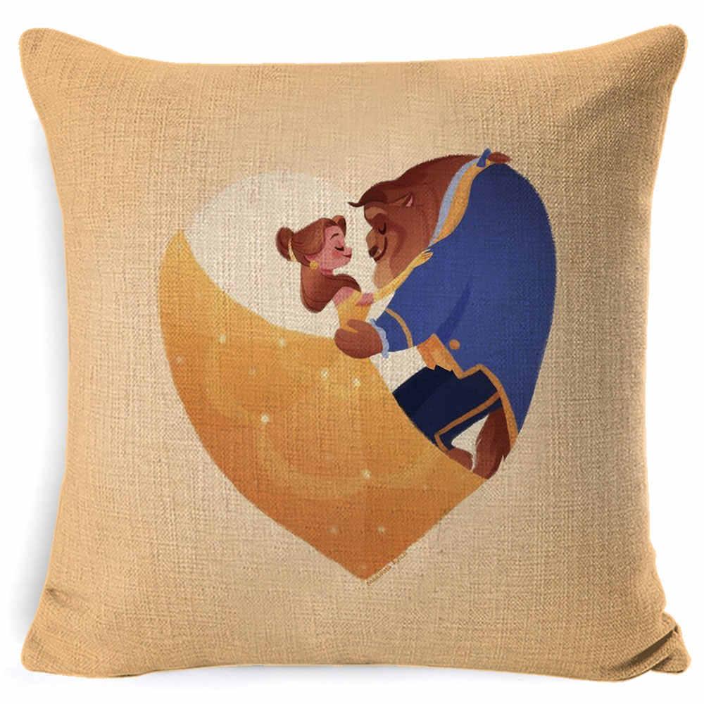 妖精物語マーメイドアリエルラプンツェル白雪姫プリンセスクッション家の装飾クッションカバーガールのバレンタインギフトの枕ケース Cojines