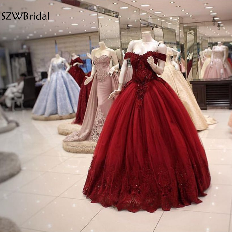New Arrival Red Ball gown   evening     dresses   2019 Dubai Arabic Prom   dress   Off the shoulder abiye   evening   gown Real made