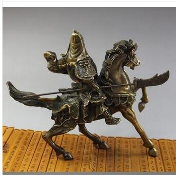 collecting OLD copper decoration BRASS Brass Rare Fine Chinese brass Statue Guan Gong & Horse NR