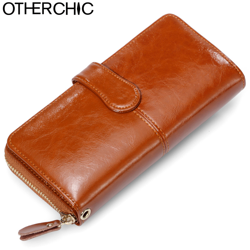 OTHERCHIC Large Cowhide Leather Women Wallets Fashion Long Female Wallet Solid Woman Women Purses Zipper Purse