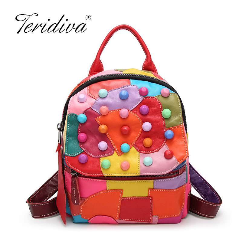 Beautiful Colorful Patchwork Design Sheepskin Women Backpack Casual Rivets Womens Travel Bags Preppy Style School BagBeautiful Colorful Patchwork Design Sheepskin Women Backpack Casual Rivets Womens Travel Bags Preppy Style School Bag