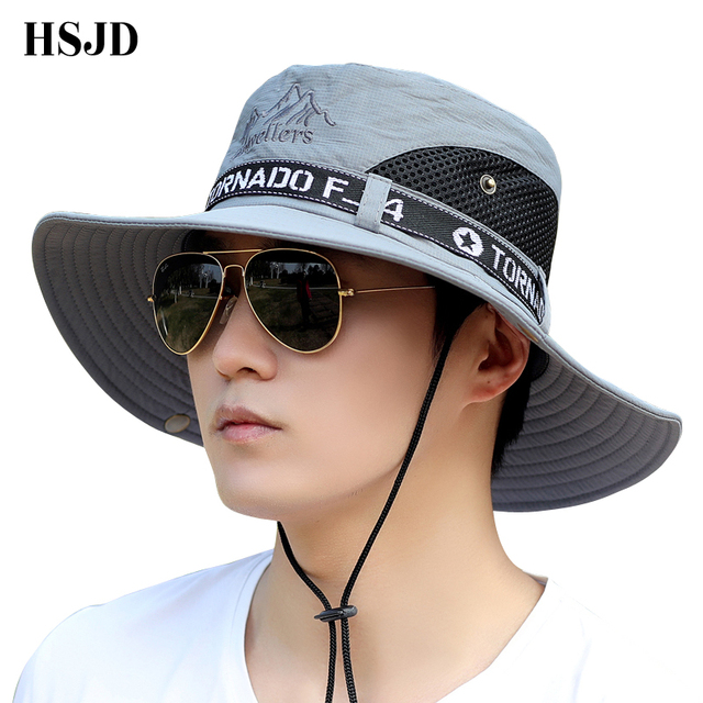 2301f8abd969d Unisex Wide Brim Bucket Hats Men s Bob Breathable Fisherman Hat Outdoor  Fishing Barbecue UV Protection Mountain Climbing Hat