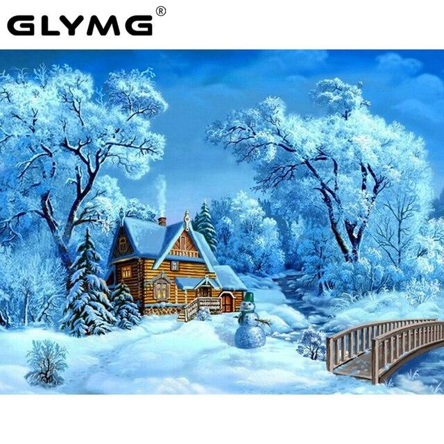 GLymg Needlework DIY Diamond Painting Beautiful Snow Winter Cabin Scenery Embroidery Full Square Drill Mosaic