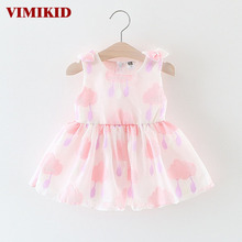 VIMIKID 2017 new summer baby girls dress o-neck Cartoon Clouds sleeveless vest dress lovely toddler clothing children dresses