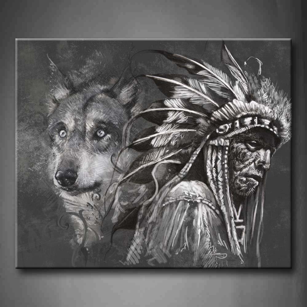 Encadrée mur Art photos loup indiens toile impression œuvre pour la décoration de bureau à la maison