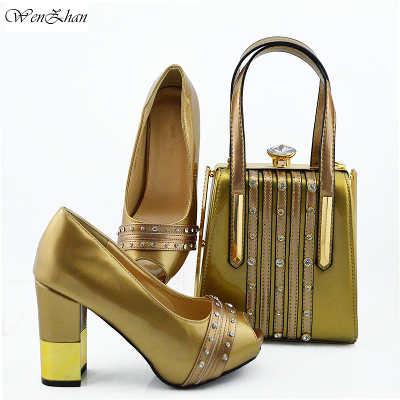 Gold Party Shoes and bag maching High heel with smart hand bag matching set African Shoes and bag set 38-42 WENZHAN B95-22Gold Party Shoes and bag maching High heel with smart hand bag matching set African Shoes and bag set 38-42 WENZHAN B95-22