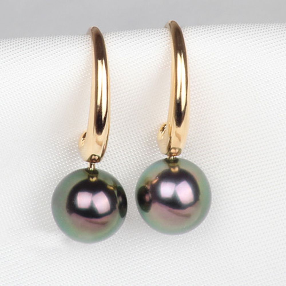 Us 208 9 5 Off Clic Design Gvbori 7 8mm18k White Gold Tahitian Black Pearl Earrings Women For Wedding Jewelry Round Fine Mother Day In
