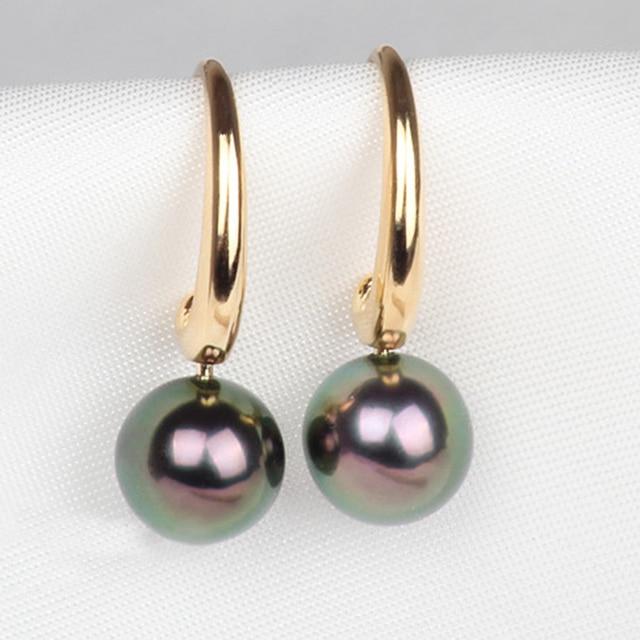 Clic Design Gvbori 7 8mm18k White Gold Tahitian Black Pearl Earrings Women For Wedding Jewelry