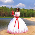 2016 New Classic Charming White Tulle Red Blue Lace Beads Ball Gown wedding dress bridal gown robe de mariage Vestido de noiva
