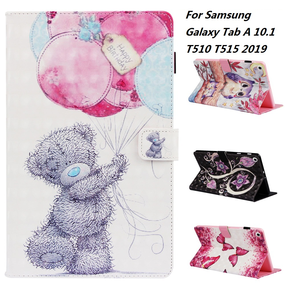 3D Cartoon Pattern PU and PC With Card Slot Cover <font><b>Case</b></font> for Samsung Galaxy Tab A 2019 <font><b>SM</b></font> <font><b>T510</b></font> <font><b>SM</b></font> T515 <font><b>T510</b></font> T515 Tablet <font><b>Cases</b></font> image