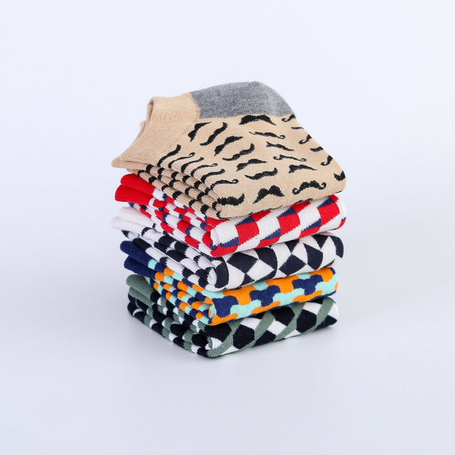 Jhouson Colorful Classic Beard Geometry Pattern Funny Ankle Sock Fashion Men's Cotton Novelty Summer Casual Socks For Male 6