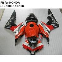 Aftermarket body parts fairings for Honda red black CBR 600RR 2007 2008 fairing kit CBR600RR 07 08 TY14