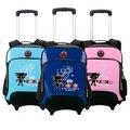 Бесплатная доставка новый мальчик и девочка дети школьный рюкзак съемный 6 цветов тележки школьные сумки с колеса