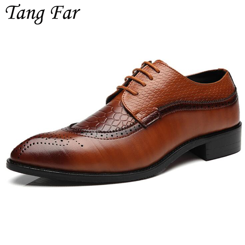 Big Size Business Shoes For Men 39-48 Mens Leather Brogue Shoes Pointed Flats Large Yards Daily Shoes Male