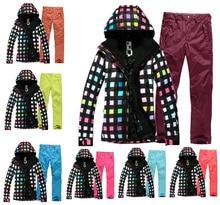 High Quality GSOU SNOW Black Women Ski Suit Sets 10K Waterproof Breathable Lady Snowboard Clothes Winter Dress Jackets+Pants