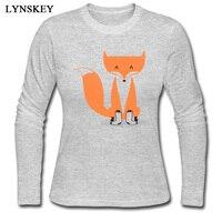 LYNSKEY O-Neck 100% Bawełna T Shirt dla Kobiet Niestandardowy Jesień Topy trójniki Graficzne Lisa Z Skarpetki Normalne Koszulkę Z Długim Rękawem