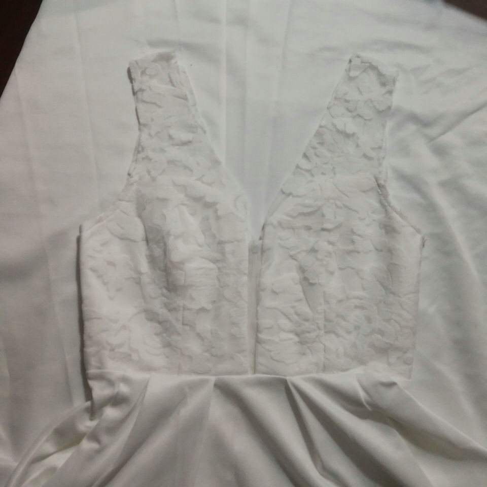 Image 5 - Elegant Short Wedding Dress 2019 Wedding Gowns Women Bohemian Lace Stretch Fabric Zipper Tea Length Beach Bridal Party Dresses-in Wedding Dresses from Weddings & Events