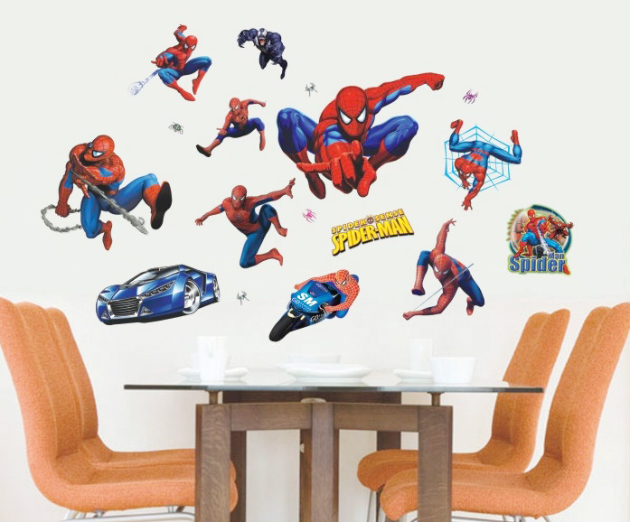Large kids spider man wall stickers mural baby boy cartoon spiderman superman decals wallpaper children nursery home rooms decor in wall stickers from home