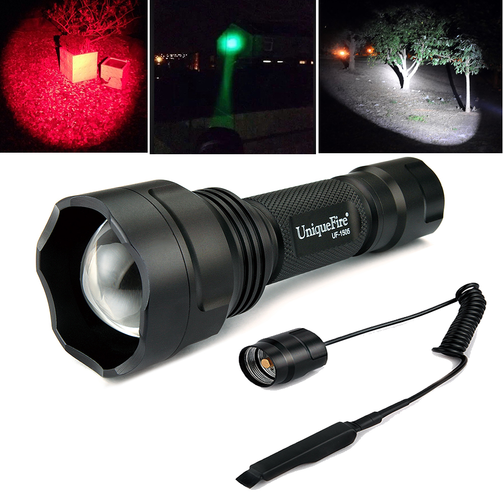 ФОТО Uniquefire Remote Control Flashlight 1505-XPE LED Light Lamp Zoomable Flashlight 38mm Aspherical Lens Lantern+Remote Pressure