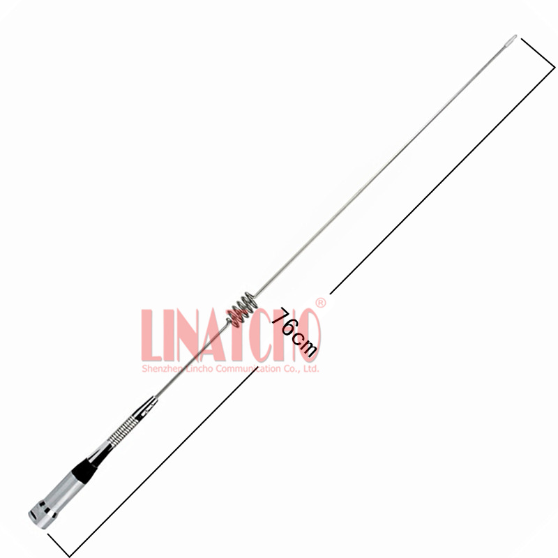 10A UHF 400-470MHz Stainless Steel High Gain Mobile Radio Whip Pl259 Bottom Spring Antenna