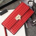 Fashion Rivet Women Clutch Bag\Handbag\Evening bag Female Brand Shoulder Bag\Messenger Bag~13B247
