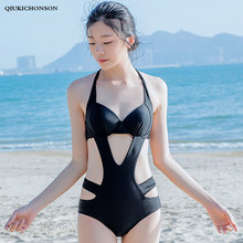 Sexy Costumes Swimwear Women One Piece Bathing Suit Outfits Slim Halter Back Lace Up Hollow Out Black Bodysuit Bodies Ladies