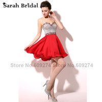 In Stock Short Red Chiffon Sexy Homecoming Dresses Shiny Beaded Sweetheart Prom Gowns Graduation Dresses Beaded