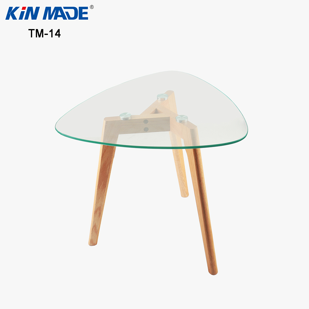 Kinmade Triangle Tempered Glass Top Coffee Table Solid Wood Oak