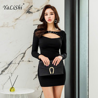 2018 Plus Size Solid Bodycon Bandage Dress Autumn Women Black Full Sleeve Strapless Sexy Club Knitting Dress Goth Mini Dresses
