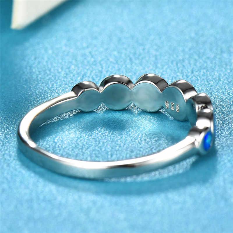 Boho Nữ Nhỏ Vòng Ngón Tay Vòng 925 Sterling Silver Bạc Màu Xanh Trắng Lửa Opal Đá Vành Đai Hứa Đính Hôn Nhẫn Đối Với Phụ Nữ