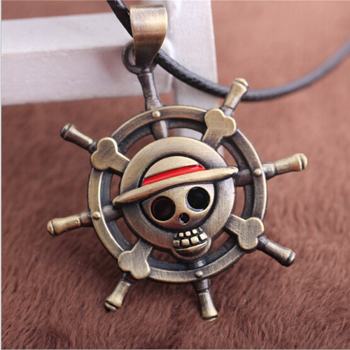 Vintage Anime ONE PIECE MONKEY D LUFFY Skull Pendant Necklace Pirate Flag Metāla kaklarota cosplay Anime dāvana
