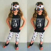 NEW Hot Selling 3pcs Kids Girls Summer Sleeveless Solid Color Letter Pattern Tops T Shirt Pants