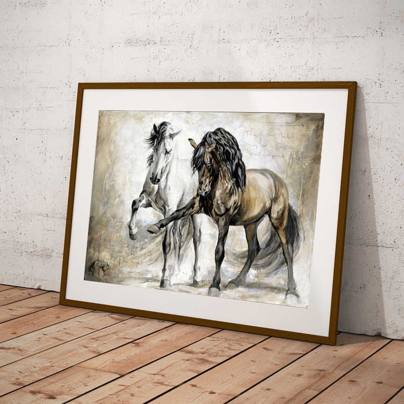 Wall Art Posters Animal Oil Painting On Canvas Wall Pictures Retro Nostalgia Two Brown Horses Dancing for Living Room Unframed