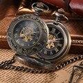 2016 Steampunk Skeleton Mechanical Vento Mão Relógio de Bolso de Bronze Dos Homens Do Vintage Relógio de Bolso Colar & Fob Com Corrente