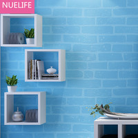 0.53x10 Meter blue tile pattern simulation brick tiles non woven wallpaper bedroom living room TV sofa decorated N12