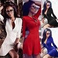 Deep V Neck  Women Flare Dress 2016 Autumn 3/4 Sleeve Elegant Sexy Mini Dress Plus Size Zipper Up Party Dresses Vestidos 15360