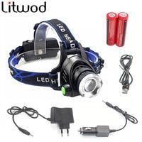 Litwod Z30568D LED Headlamp Headlight Head Flashlight Aluminum 5000lm T6 L2 Zoom Adjustable Head Lamp 18650