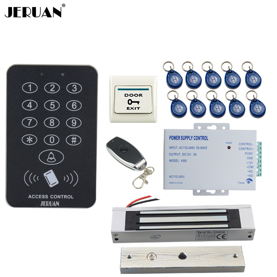 JERUAN RFID Access Controller Door control system kit + 180kg Magnetic lock +Remote control + power supply control In stock