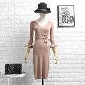Зима Женщины V-образным Вырезом Вязание Dress Three Quater Рябить Рукав Женщина Изящные Solid Dress