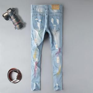 Image 2 - Fashion blue Embroidery Flower designer Zipper Wash Jeans Men High Quality Slim Denim distressed Pants Brand Straight Pants