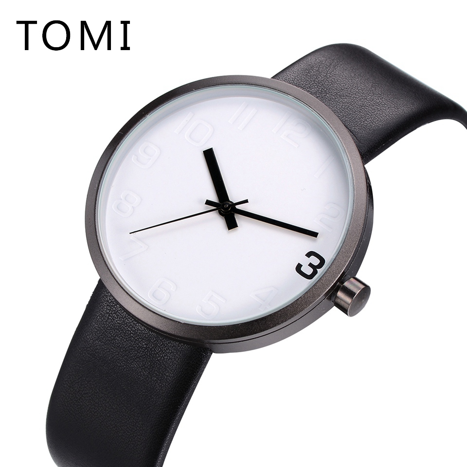 Tomi Men Watches Top Brand Luxury Fashion Business Quartz Watch Sport Leather Strap Waterproof Simple Male Wristwatch T021 disu top brand 2017 men watches fashion simple quartz wrist watch business leather strap male sport rose gold dial clock ds039