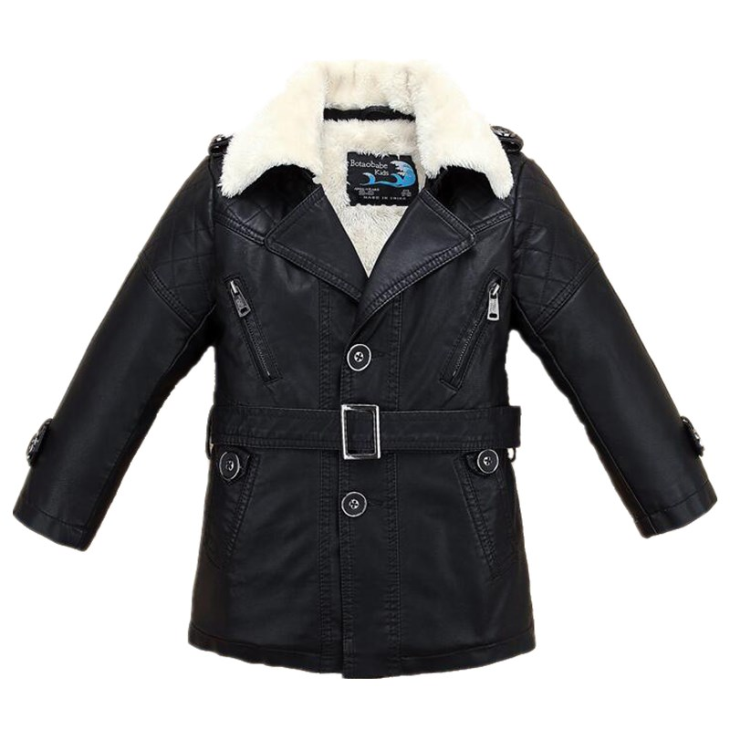 Winter Fall Long Big Boys Leather Jacket with Fur Collar Fleece Thicken Kids Children's Coat Clothes ein fall fur tessa