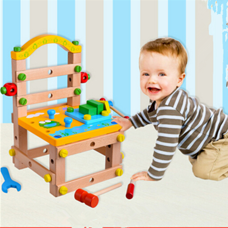 ФОТО new arrival removable toy chair luban disassembly tool nut combinations assembled children